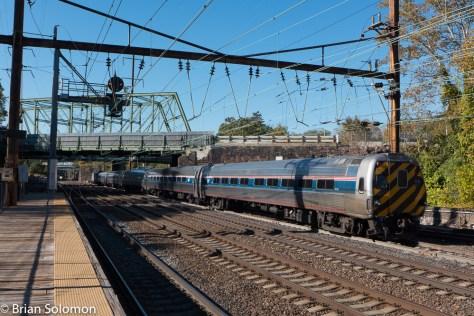 Amtrak Keystone train destined for Harrisburg, PA, departs Trenton on October 19, 2015.