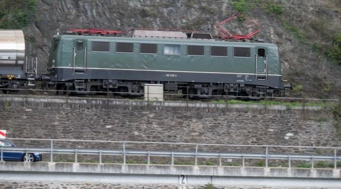 German Class 140 in Classic Livery near the Loreley Rock.