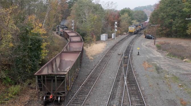 Ballast Train departs East Deerfield