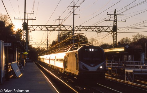 Amtrak train 88 catches the glint at Green's Farms at 4:15pm on November 8, 2015. Provia 100F.