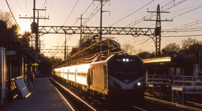 Classic Chrome: Amtrak train 88 catches the Glint at Green's Farms, November 8, 2015.