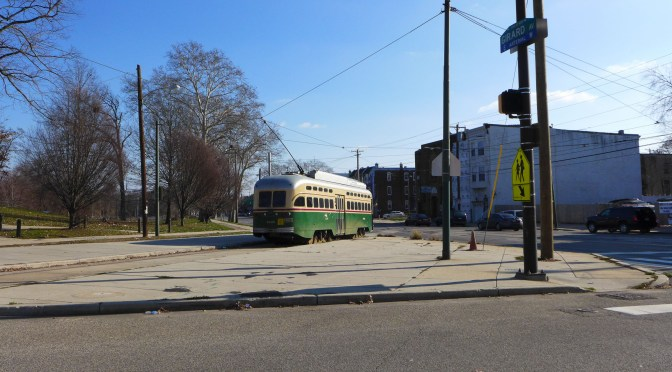 First Railway Photo(s) for 2016; SEPTA PCC on Parkside Avenue.
