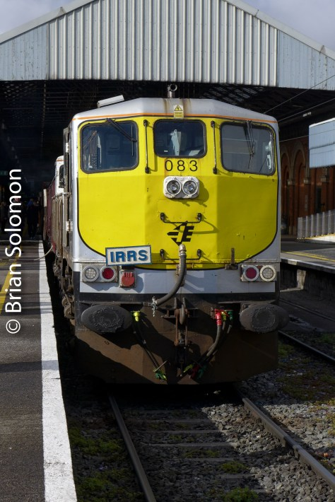 Engine 083 brought us from Dublin to Limerick via Nenagh. Viewed in a rare moment of sun at Connolly Station in Dublin.