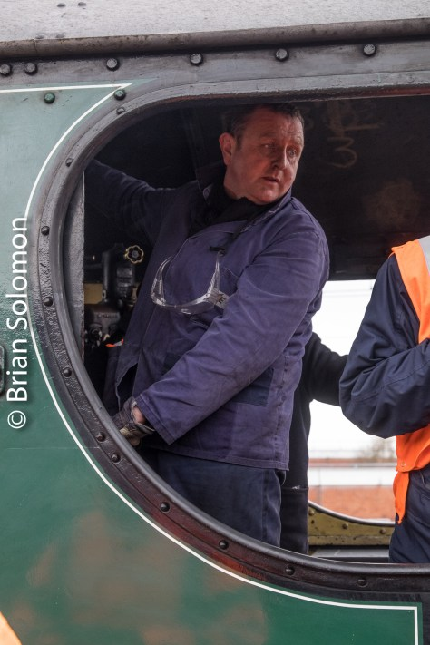 Driver Ken Fox on the footplate.