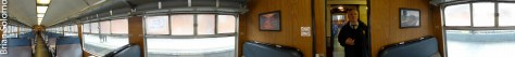 Panoramic view inside one of RPSI's Cravens carriages.