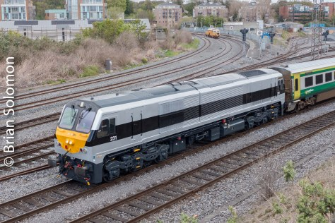 Irish Rail 231 on the 11am to Cork at Islandbridge Junction at 1103 on Wednesday 4 May 2016. Lumix LX7 photo.