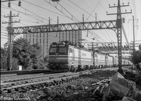 Three AEM-7 electrics lead Amtrak's Montrealer. All pantographs are up. Now, how cool is that?