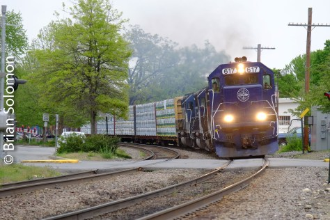 Pan Am's POED (Portland to East Deerfield) roars west through Shirley. We learned that the new signals here illuminate when a train is coming from the opposite direction. Good to know!