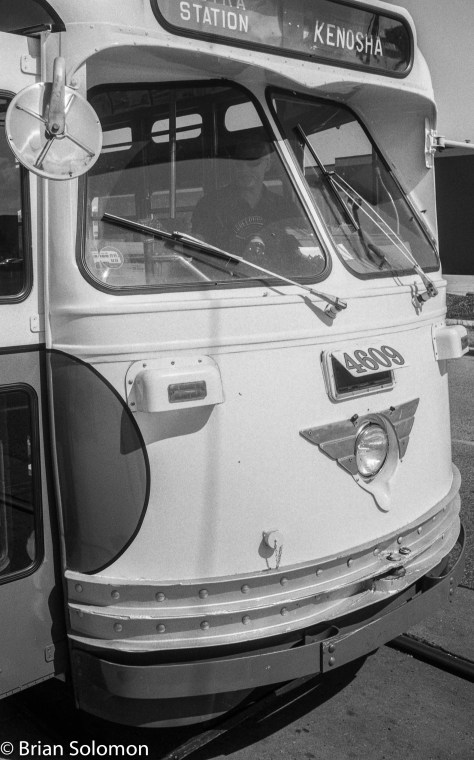 PCC car at Kenosha, Wisconsin. Detailed view exposed on Ilford FP4 using a Leica 3A with 35mm Nikkor lens.