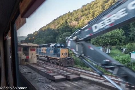 Work trains to help repair flood damage. Train 51 was blocked at several locations as repairs were still underway.
