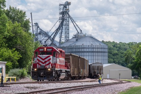 Our freight works at Rock Springs where it dropped grain cars for loading.