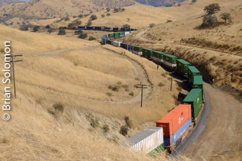 Like a long snake, the train winds its way uphill toward Tehachapi Summit.