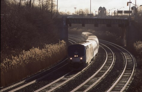 Amtrak's Maple Leaf near Sunnyside in Toronto on the first leg of its journey to New York's Pennsylvania Station.