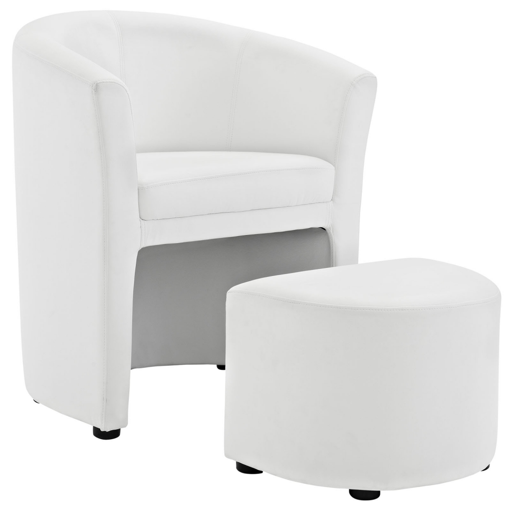 White Modern Chair Sequence Chair And Ottoman Set Modern Furniture