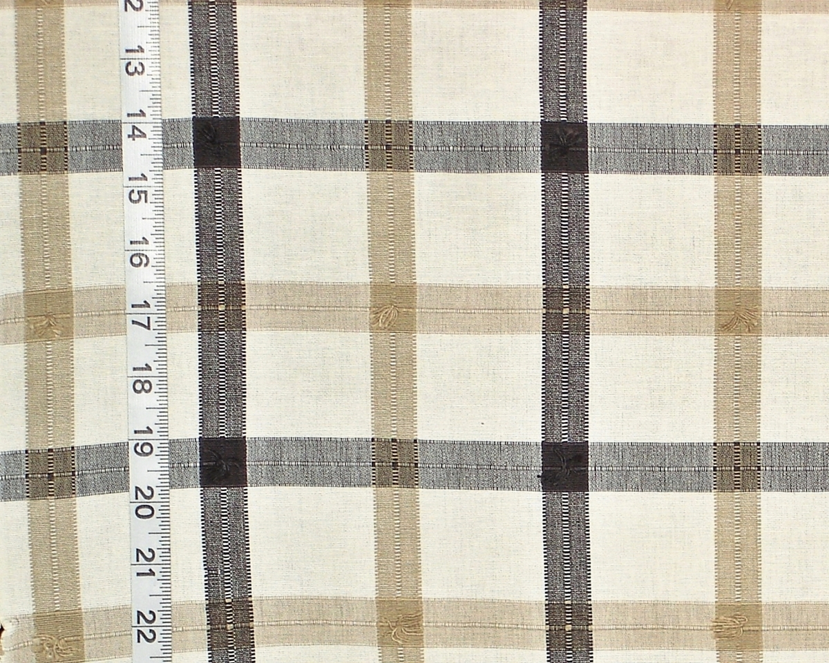 Plaid Taupe Black Taupe Tan Windowpane Plaid Fabric Linen From Brick House