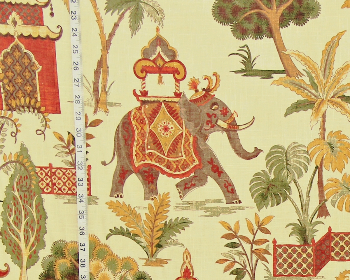Batik Tuch Elephant Fabric- Indian Temples | Brickhouse Fabrics
