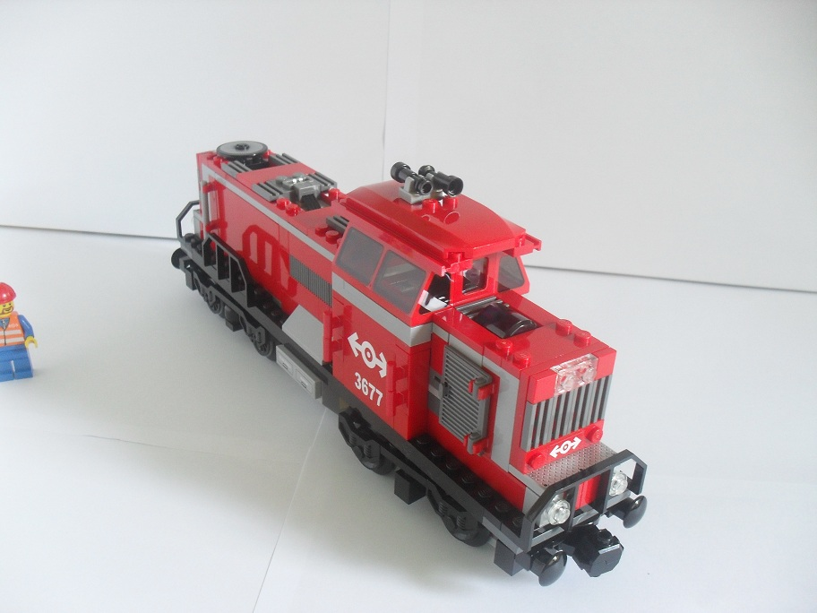 Review 3677 Red Cargo Train Lego Train Tech - Cargo Verlichting