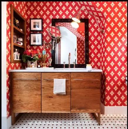 salle de bain rouge chic Choisir la couleur de la salle de bain   21 Idées de couleurs