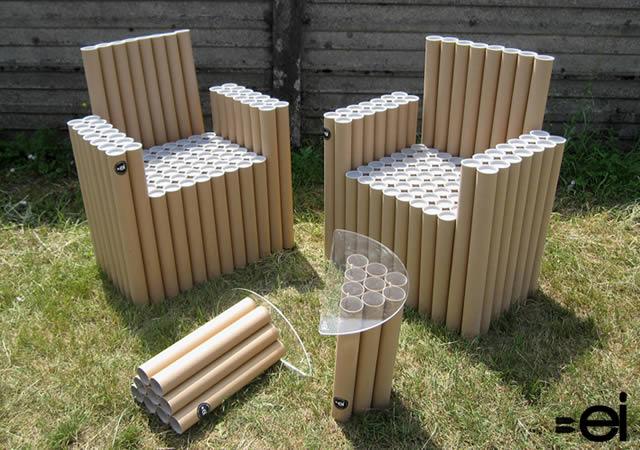El estilo de estos muebles hechos con tubos de cartón pueden