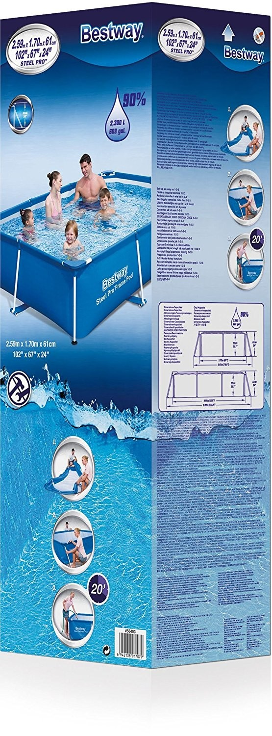 Bestway Piscinas Piscina Deluxe Splash Jr Rectangular 259 X 170 X 61 Cm 2300 L