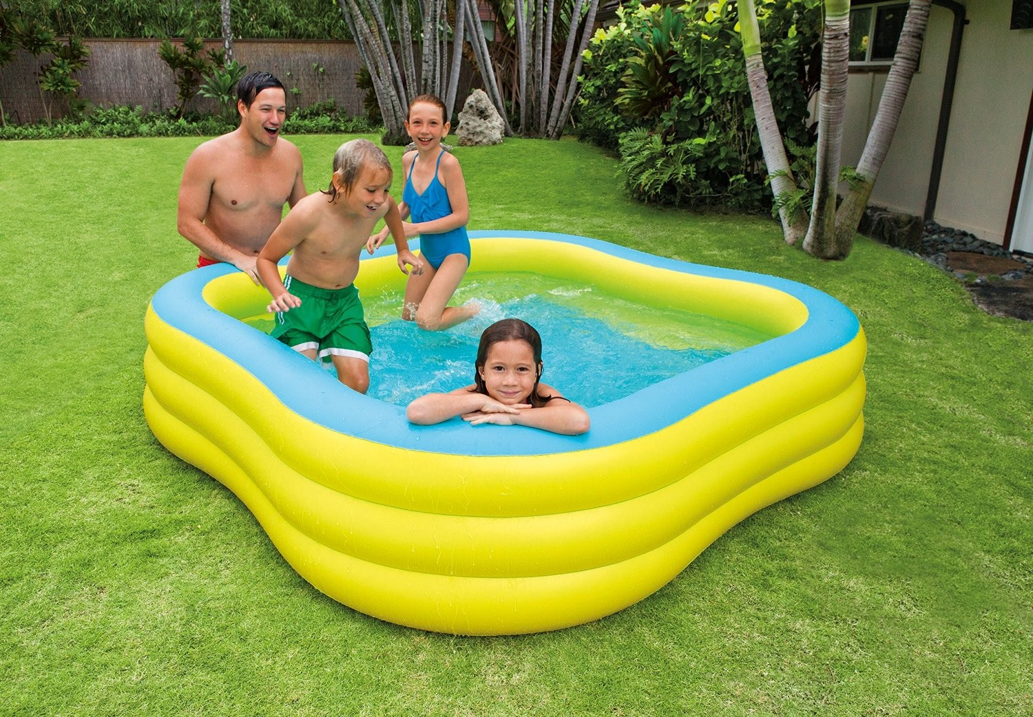 Piscina Intex 6000 Litros Medidas Piscina Familiar Hinchable Forma Cuadrada 229 X 229 X 56