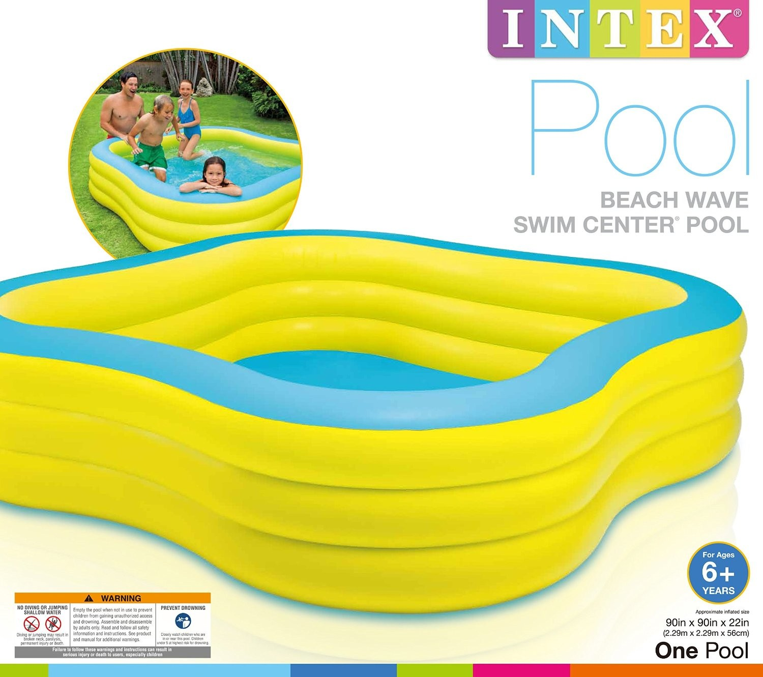 Piscina Intex Familiar Piscina Familiar Hinchable Forma Cuadrada 229 X 229 X 56