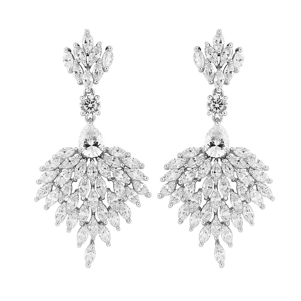Art Deco Style Earrings Uk Sophia Cz Crystal Chandelier Bridal Earrings Vintage Style Art Deco Earrings
