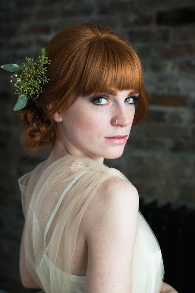 Hairstyles For Hair Growing Out Brides With Bangs; Wedding Hair Inspiration Bridal Musings