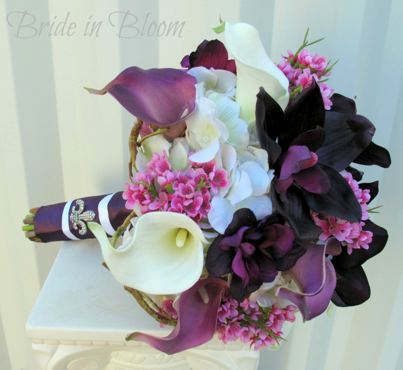 Bouquet De Fleur Plum Lavender Wedding Bouquet Calla Lily Orchid Silk