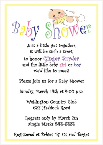 Baby Shower Invite Wording - Bathroom Design Ideas Gallery Image and