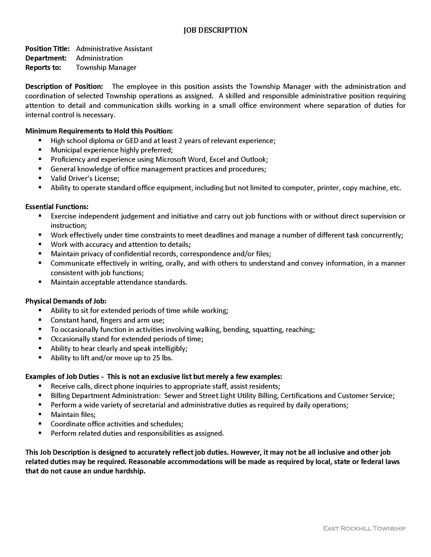 Administrative Assistant Administrative Assistant Job Opening East Rockhill Township
