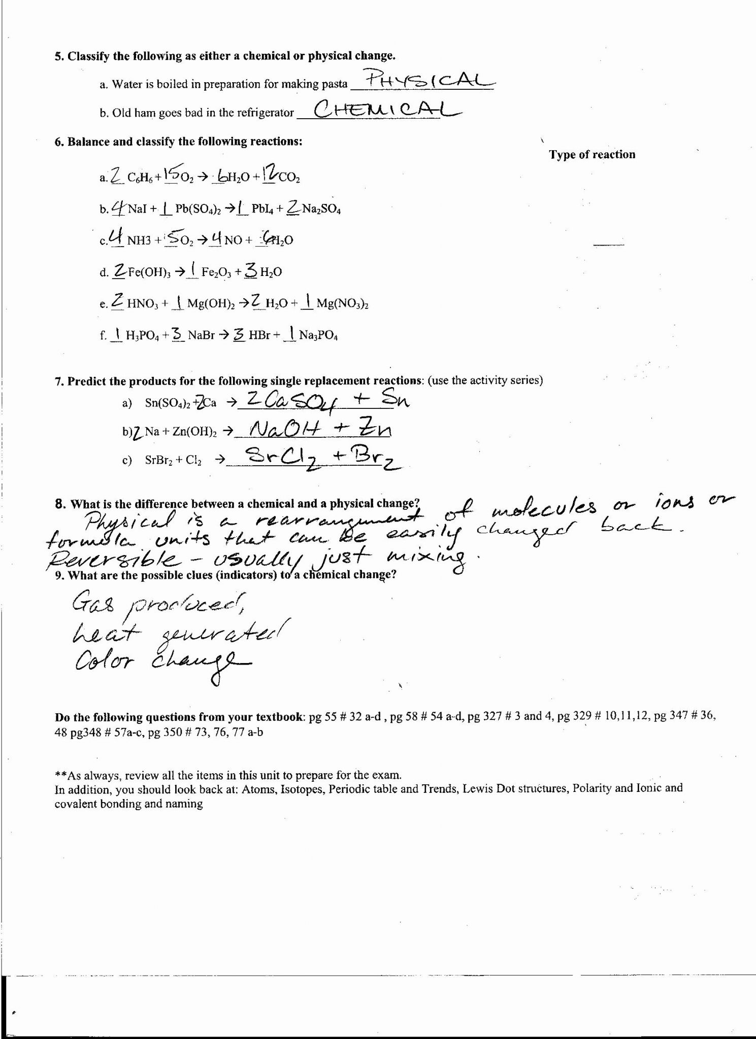 activity series review worksheet answer key