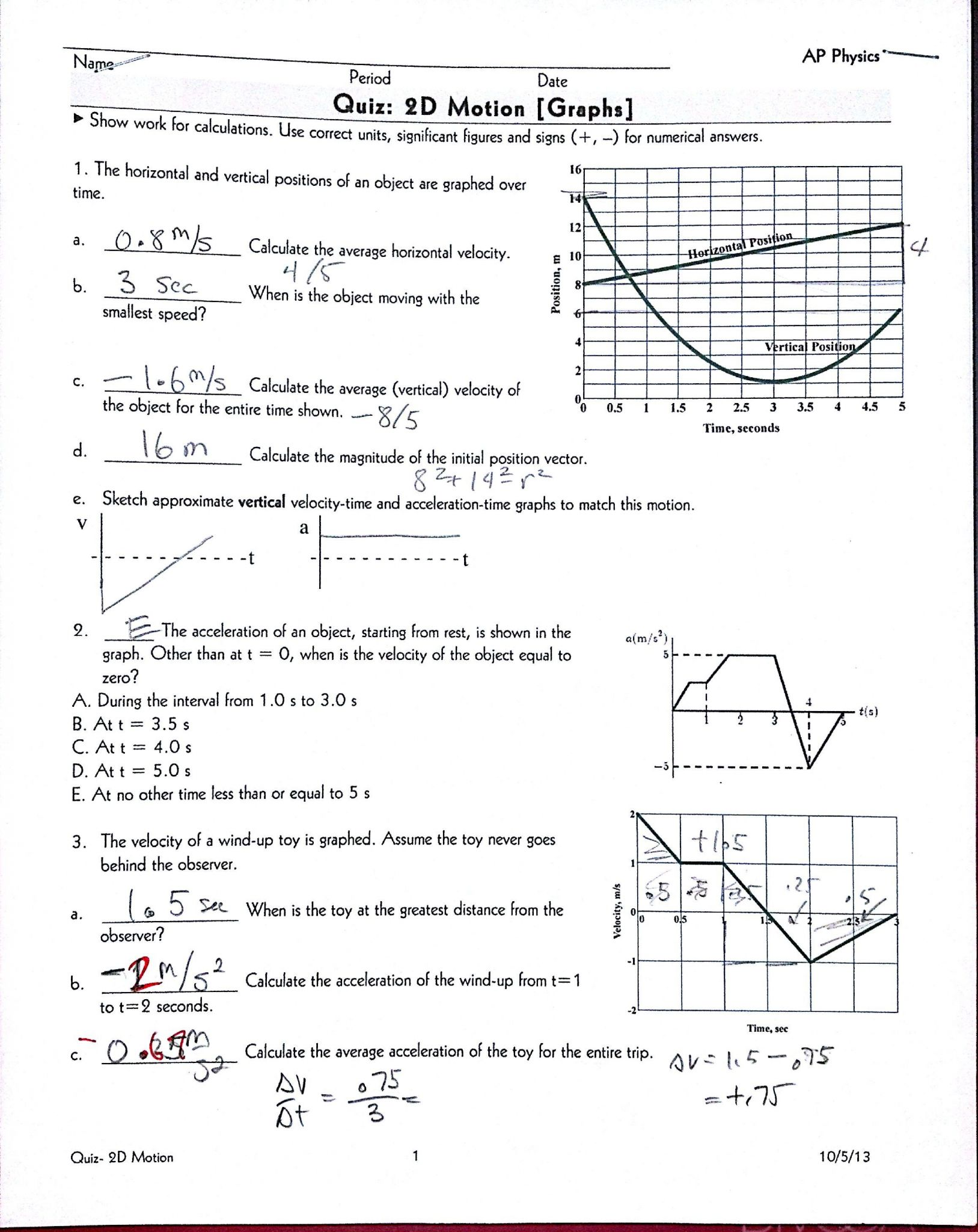 Velocity And Acceleration Calculation Worksheet Answer Key