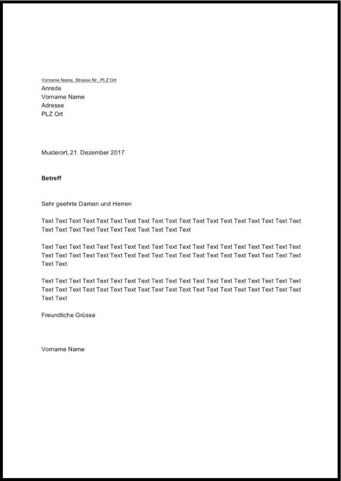 Word Briefvorlage | cvfree.pro