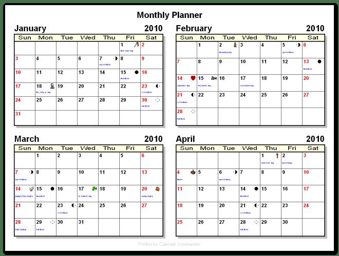 Printable Calendars Blank Calendars Briggs Softworks Calendar Commander Sample Calendars