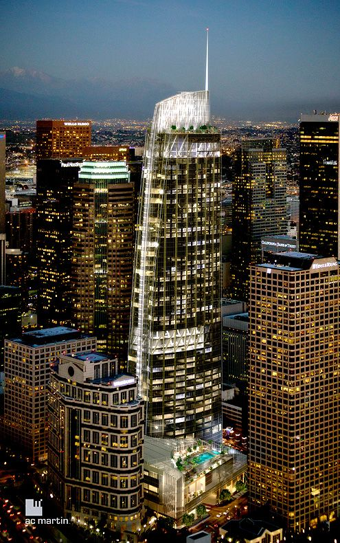 As a result of a recent policy shift in the outdated LAFD fire code, the new Wilshire Grand Tower will be allowed to have a spire and reduced helipad structure (Photo: AC Martin)