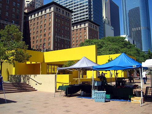 "The infamous ""cheese wedge"" among other poor design features in Pershing Square create bad flow (Photo: Brigham Yen)"