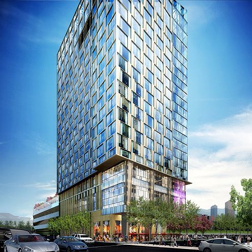 A rendering of the 19-story hotel at the corner of 9th/Francisco