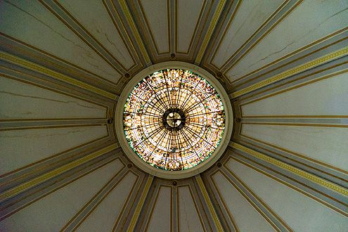 The gorgeous round ceiling of the Trinity Auditorium