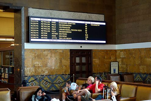 "A closer look at the new digital schedule screens for Amtrak and Metrolink with a new design ""header piece"" to be installed above the screen sometime this coming week"