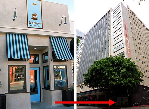 Big Sugar Bakeshop from Studio City (pictured on the left) is coming to Wilshire Blvd at Pegasus Apartments (Left Photo: Big Sugar Bakeshop)