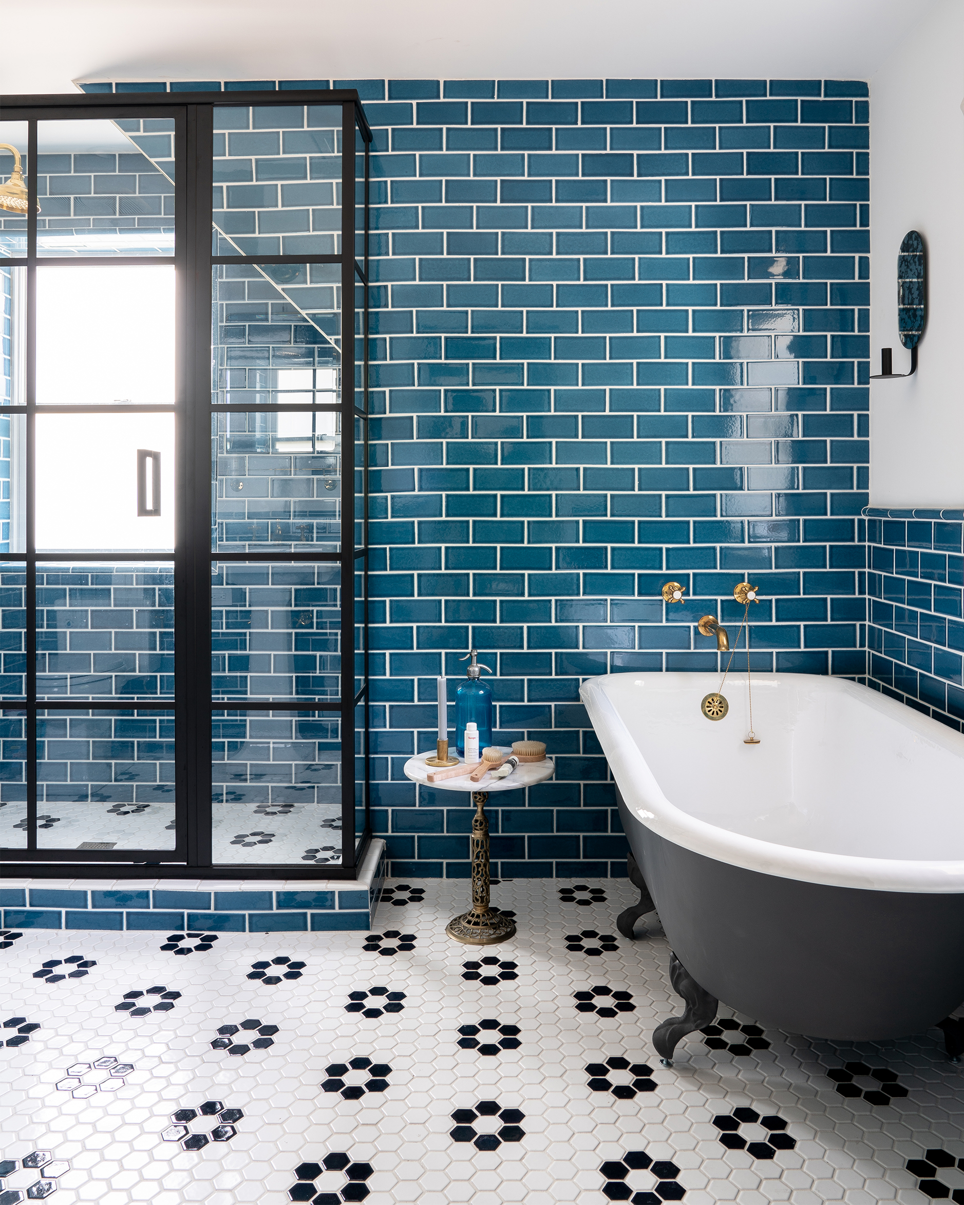Subway Tiled Bathrooms Blue Subway Tile Bathroom 4 Bright Bazaar By Will Taylor
