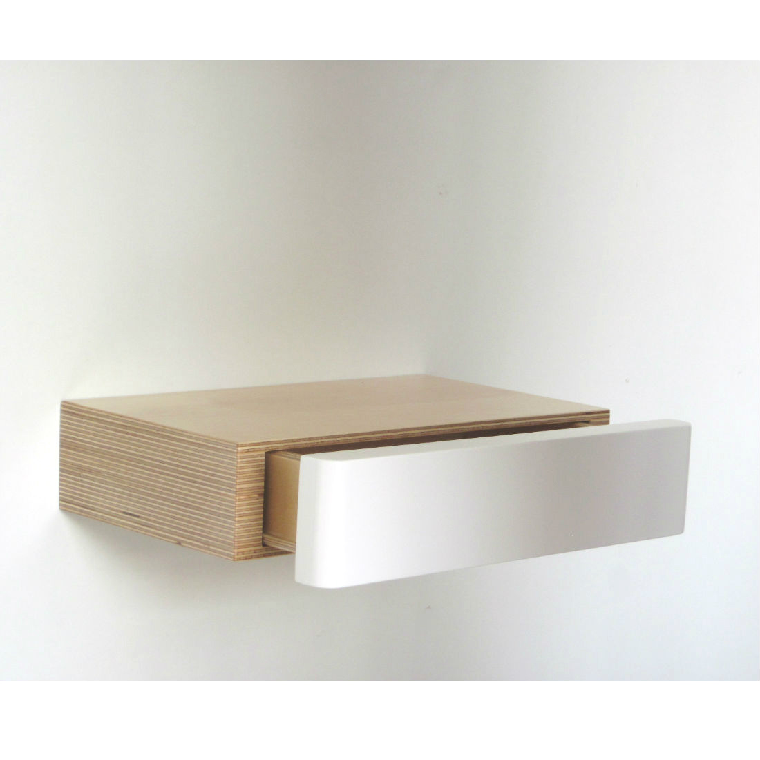 White Floating Shelves Pacco Floating Shelf Drawer: Birch White | Bright Blue Living