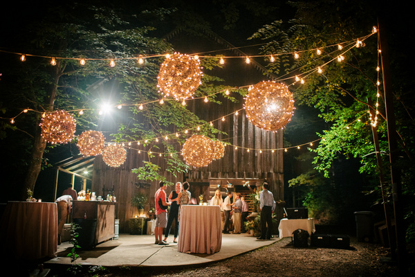 Woodland Wedding with Grapevine Orbs and String Lights