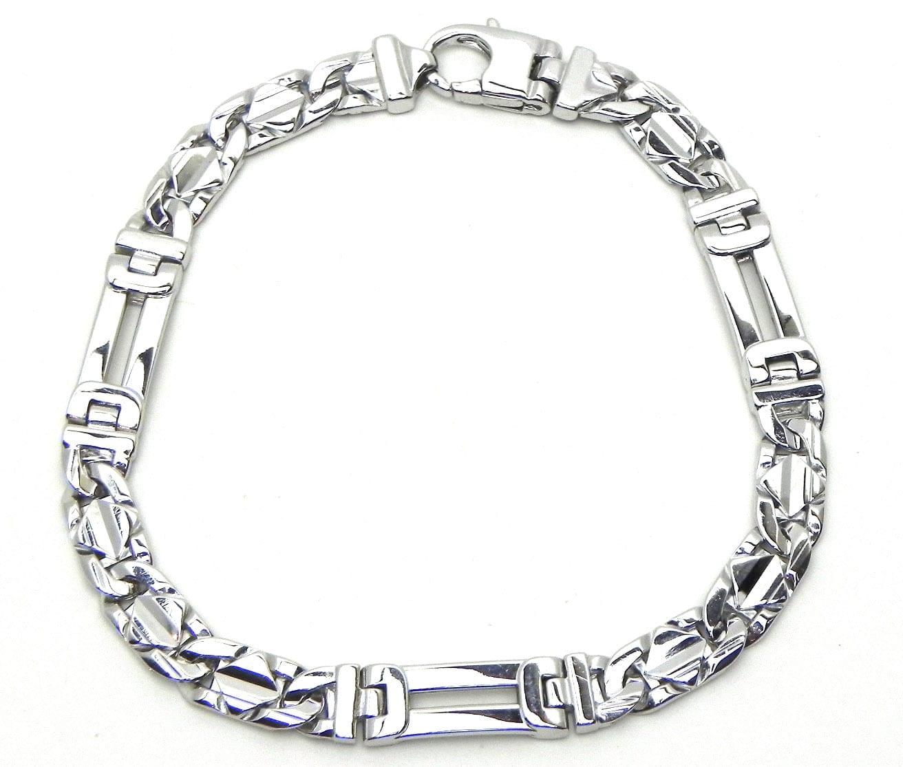 Men39s 14k White Gold Figaro Style Bracelet W Raised
