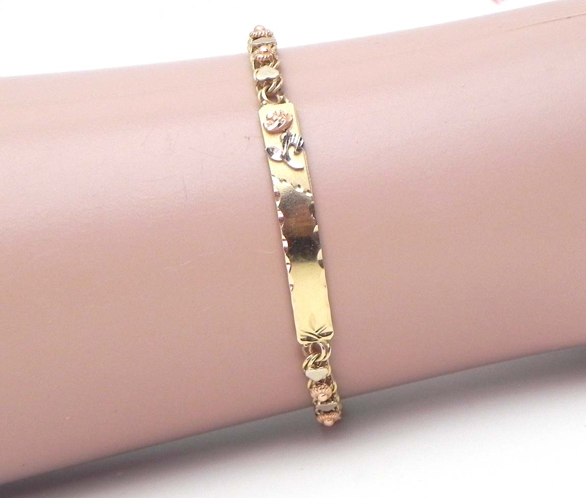 Little Girls 14k Tri Tone Gold Hearts Rose Id Bracelet