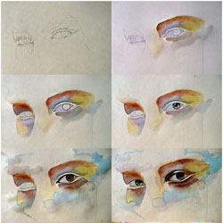 Watercolor eye study
