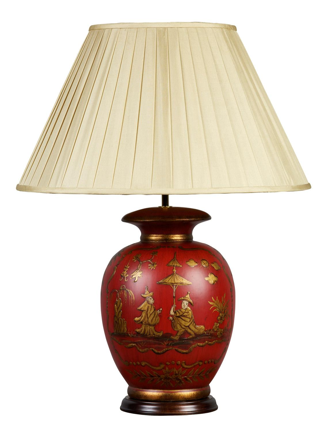 Red And White Table Lamp Red And Gold Chinoiserie Lamp And Shade Table Lamps From