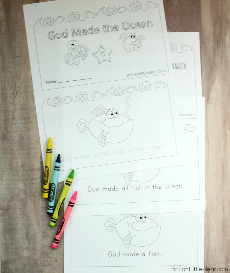 Free Printable for kids daycare or Sunday school Filled with ocean