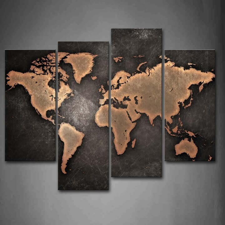 37 Eye-Catching World Map Posters You Should Hang On Your Walls - Black And Grey World Map